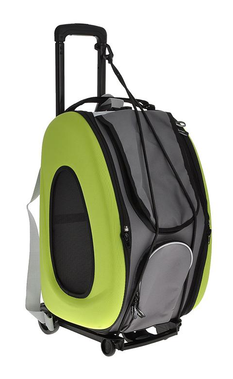 Сумка-тележка складная 3 в 1 для животных до 8 кг (сумка, рюкзак, тележка) лайм Ibiyaya (1 шт)