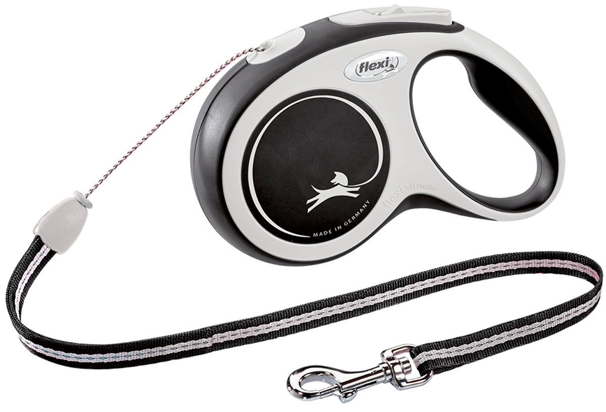 Фото - Flexi New Comfort Cord тросовый поводок рулетка для животных 8 м размер S черный (1 шт) flexi new comfort tape ременной поводок рулетка для животных 5 м размер s синий 1 шт