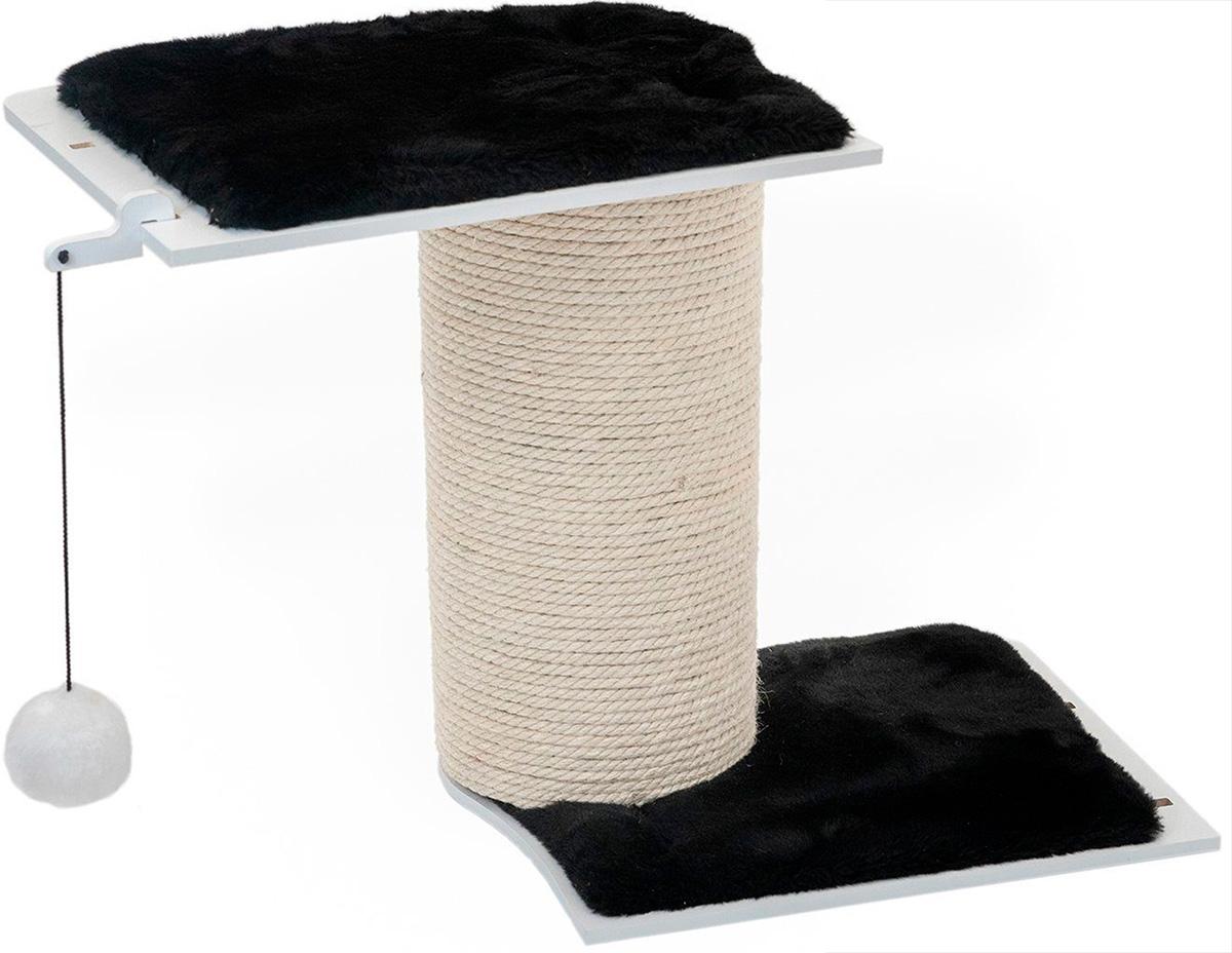 Когтеточка настенная для кошек ZooM Паркур Домино 2 полки широкая труба джут 80 х 36 х 66 см (1 шт)