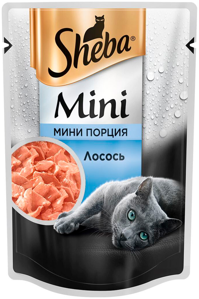 Sheba Mini порция для взрослых кошек с лососем 50 гр (50 гр х 33 шт)
