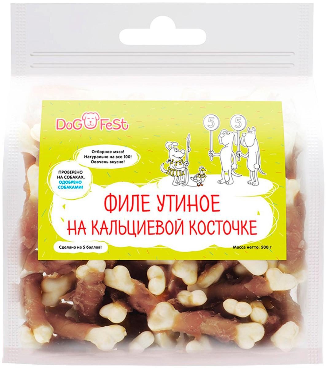 Лакомство Dog Fest для собак филе утиное на кальциевой косточке 500 гр (1 шт)