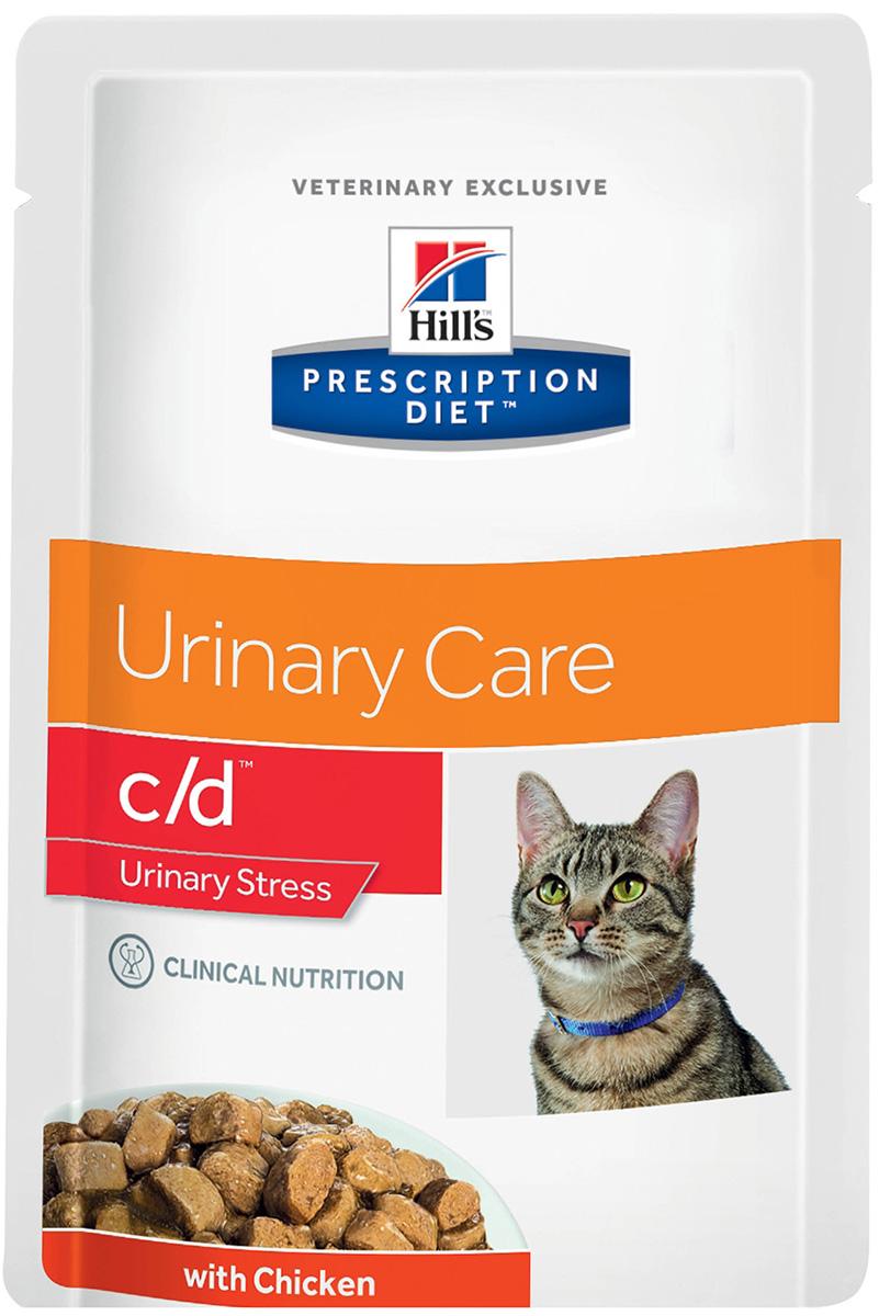 Hill's Prescription Diet C/d Urinary Stress Chicken для взрослых кошек стресс при цистите с курицей в соусе 85 гр (85 гр)
