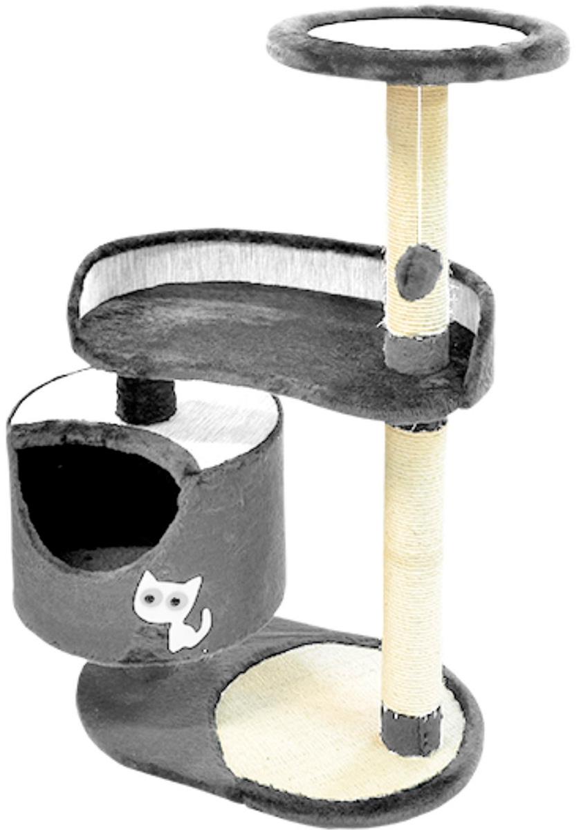 Комплекс для кошек Зооник с круглым домом и двумя лежанками мебельная ткань/мех серый 82 х 43 х 118 см (1 шт)