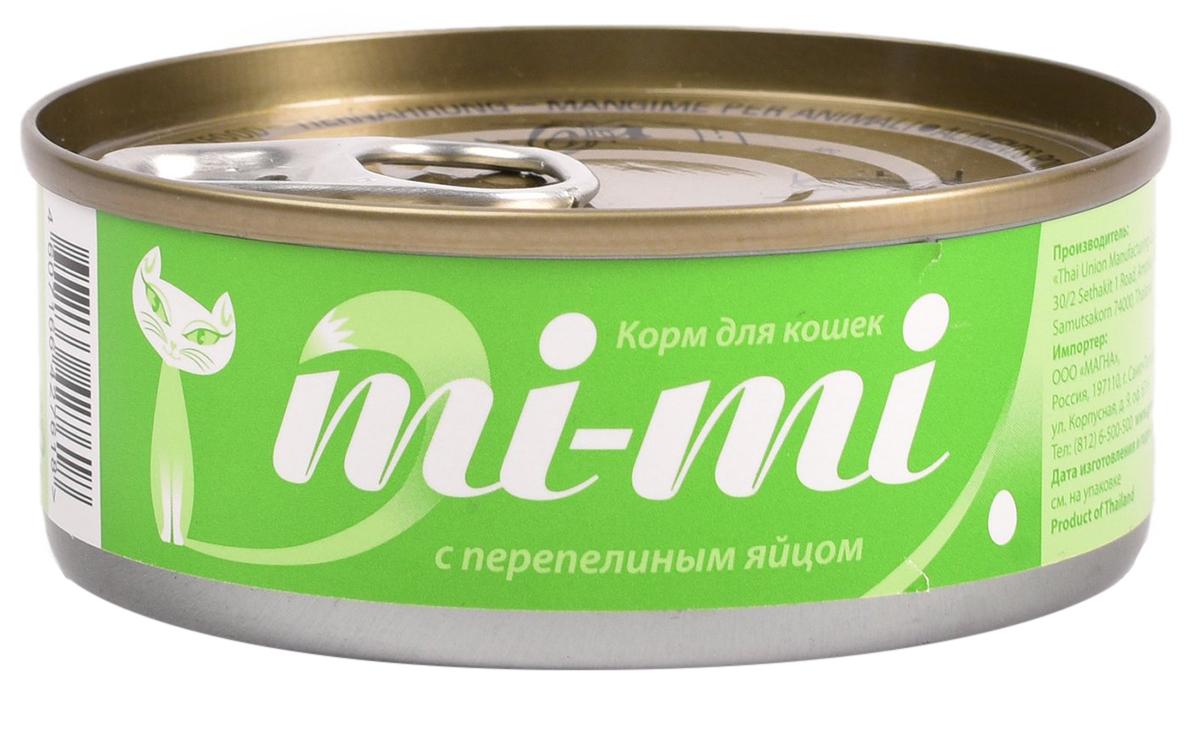 Mi-mi для кошек и котят с тунцом и перепелиным яйцом в желе (80 гр х 24 шт)