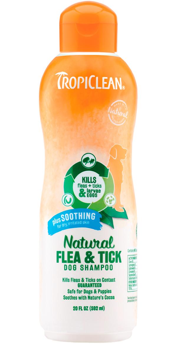 Tropiclean Soothing Shampoo Flea  Tick шампунь для собак против блох и клещей Успокаивающий (592 мл).