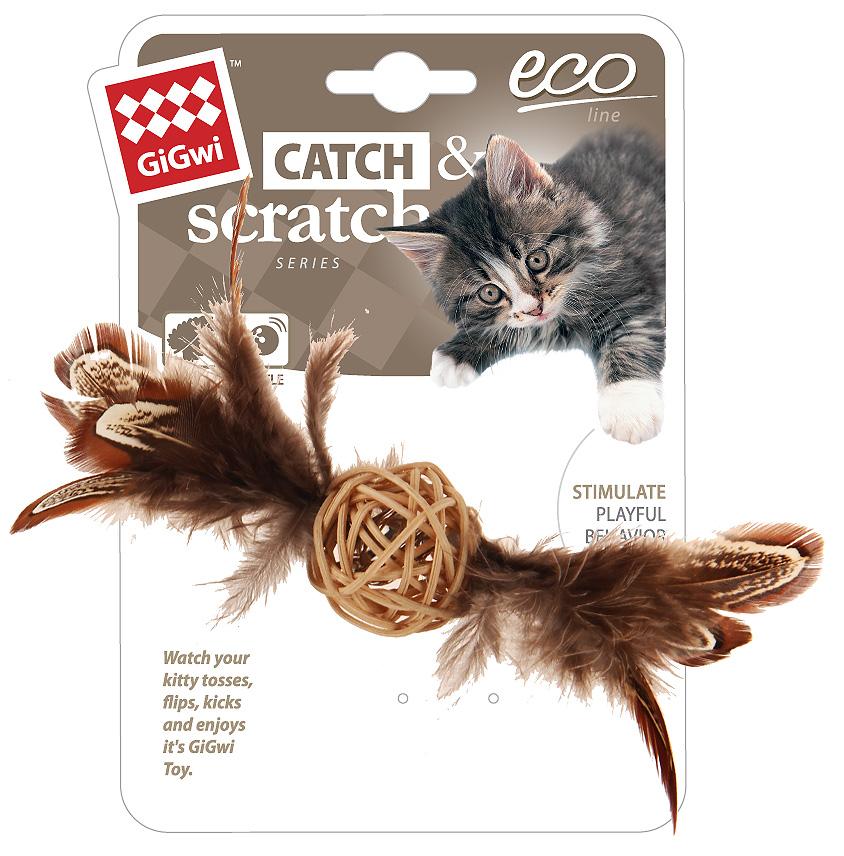Игрушка для кошек GiGwi Catch Skratch Eco Мячик с колокольчиком и перьями плетеный 13 см (1 шт)