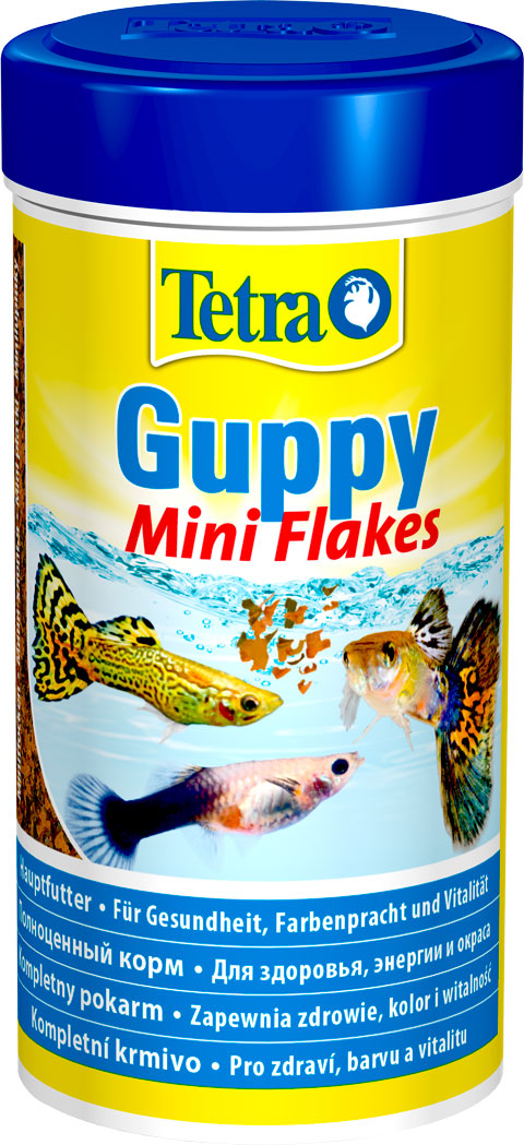 Tetra Guppy Mini Flakes корм хлопья для всех видов гуппи и других живородящих рыб (250 мл) фото