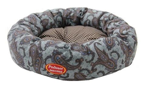Лежак для кошек Ватрушка Огурцы серые 50 х 50 х 15 см Родные Места (1 шт) фото