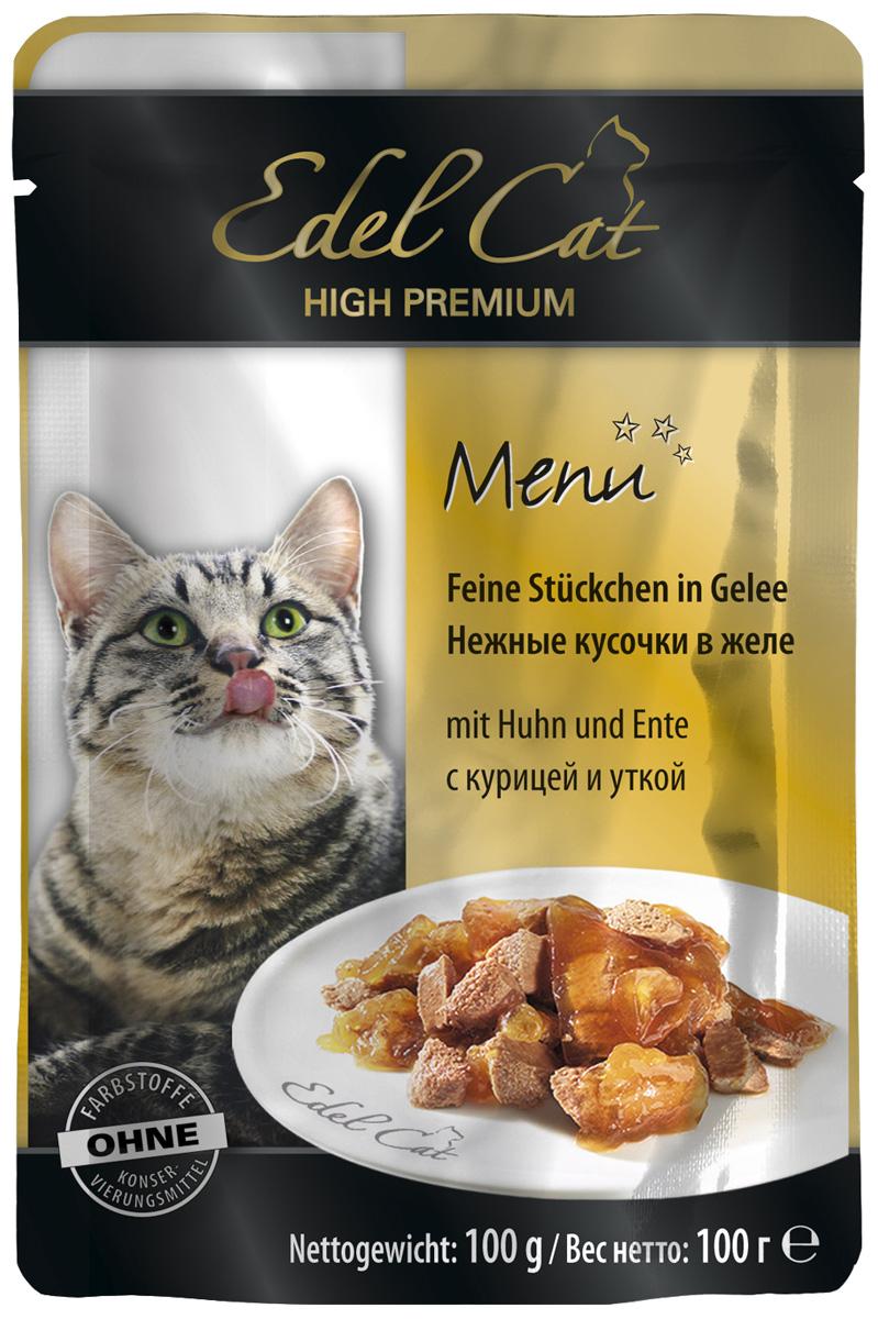 Edel Cat для взрослых кошек с курицей и уткой в желе 100 гр (100 гр х 20 шт) фото