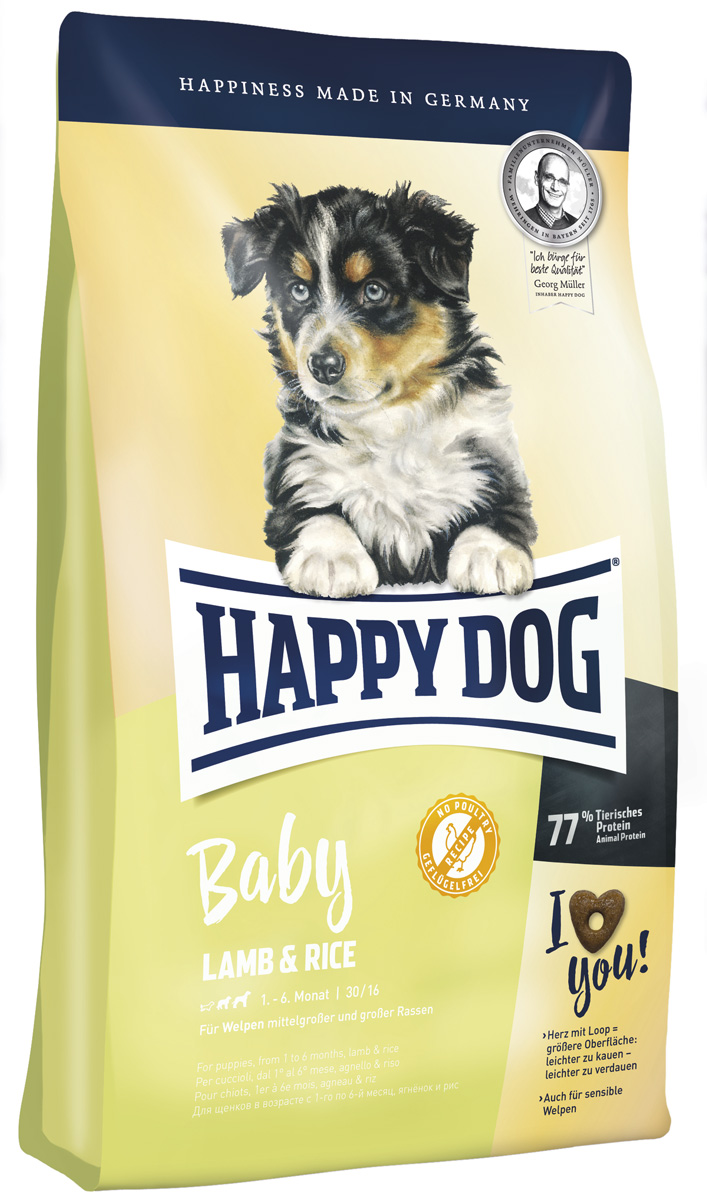 Happy Dog Supreme Baby Lamb & Rice для щенков средних и крупных пород с ягненком и рисом (4 кг)