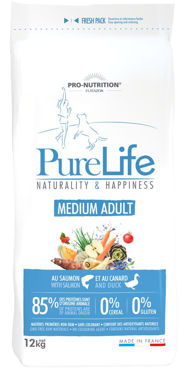 Flatazor Pure Life Adult Medium беззерновой для взрослых собак средних пород с лососем и уткой (2 кг)