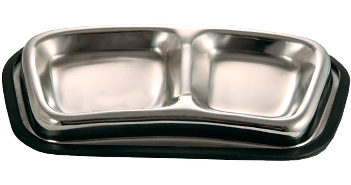 Triol миска металлическая двойная для кошек (0,12