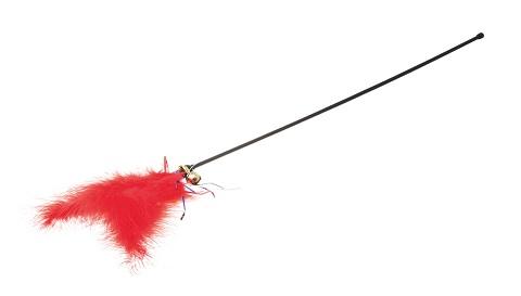 Дразнилка для кошек красная с пером