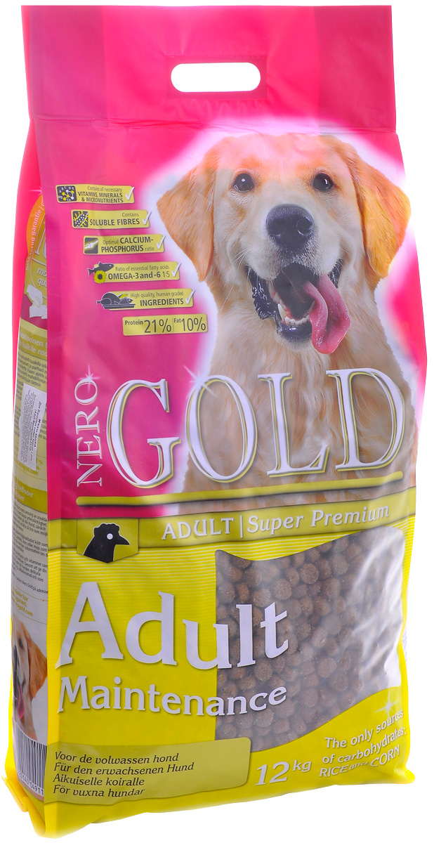 Nero Gold Dog Adult Maintenance диетический для взрослых собак всех пород с курицей и рисом Контроль веса (12 кг)