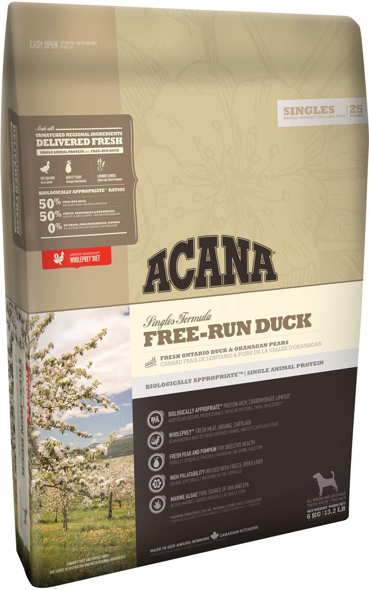 Acana Singles Free-run Duck монобелковый для собак и щенков всех пород с уткой (6 + 6 кг)