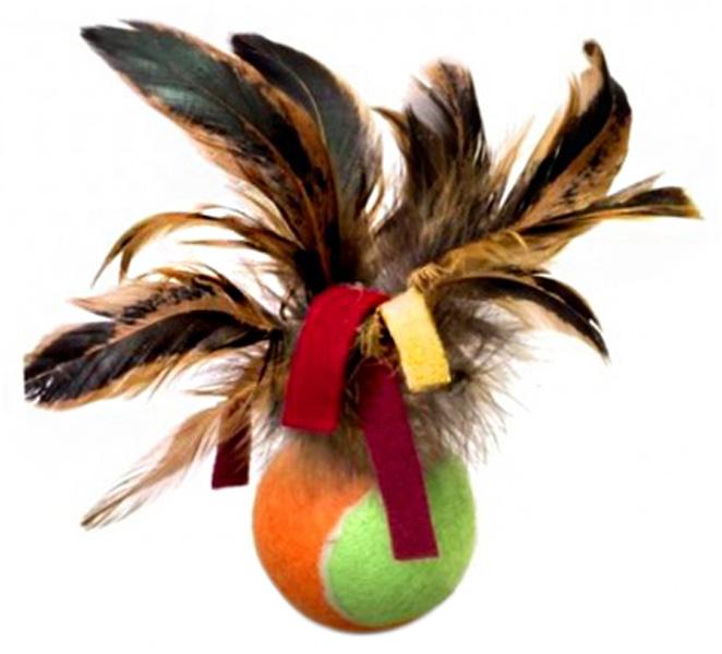 Игрушка для кошек GiGwi Мячик с перьями 6 см (1 шт)