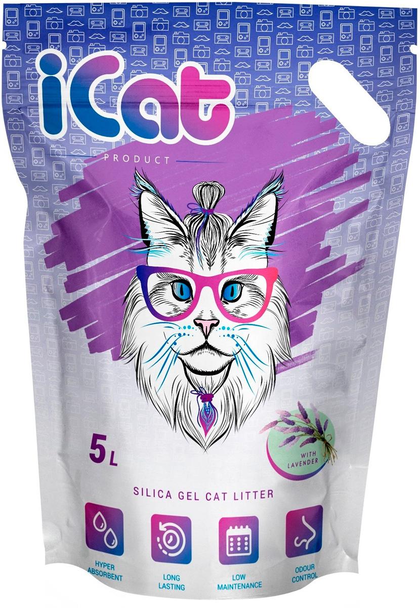 Icat Lavander наполнитель силикагелевый для туалета кошек с ароматом лаванды (5 л) for cats наполнитель силикагелевый для туалета кошек с ароматом зеленого чая 8 л