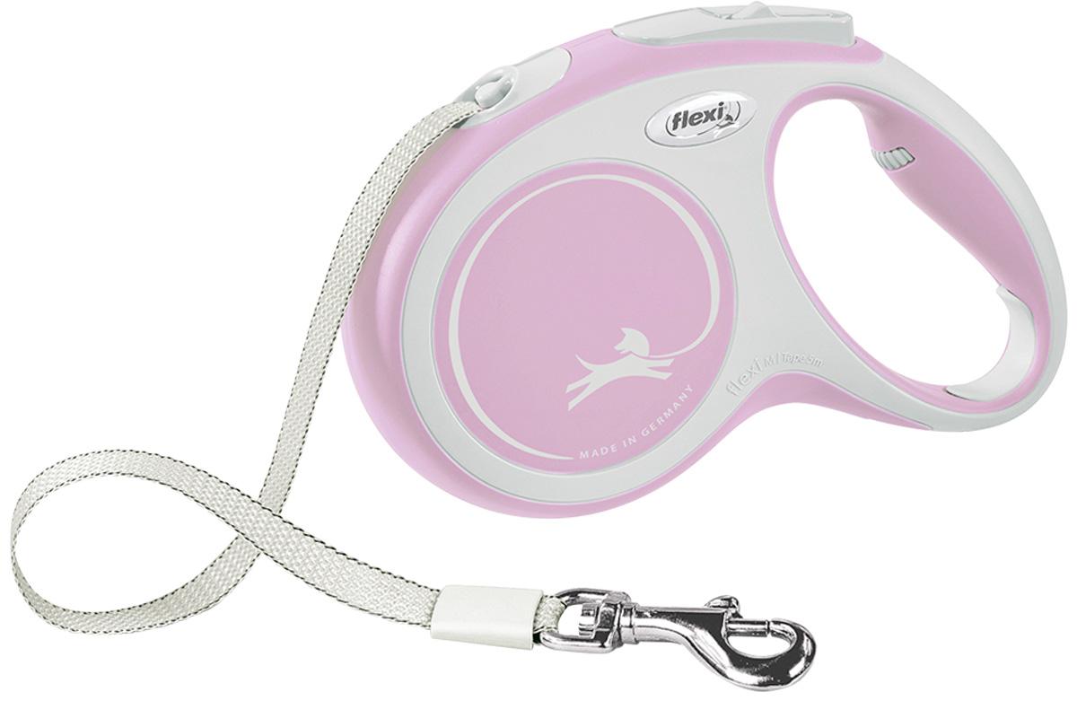 Фото - Flexi New Comfort Tape ременной поводок рулетка для животных 5 м размер M розовый (1 шт) flexi new comfort tape ременной поводок рулетка для животных 5 м размер s синий 1 шт