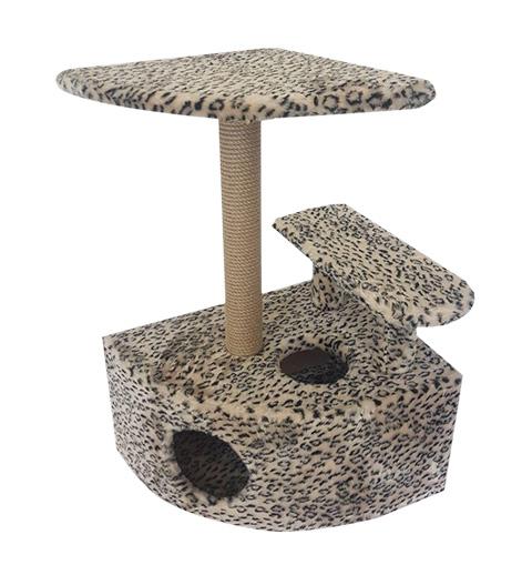 Домик Угловой со ступенькой Пушок мех бежевый леопард (1 шт)