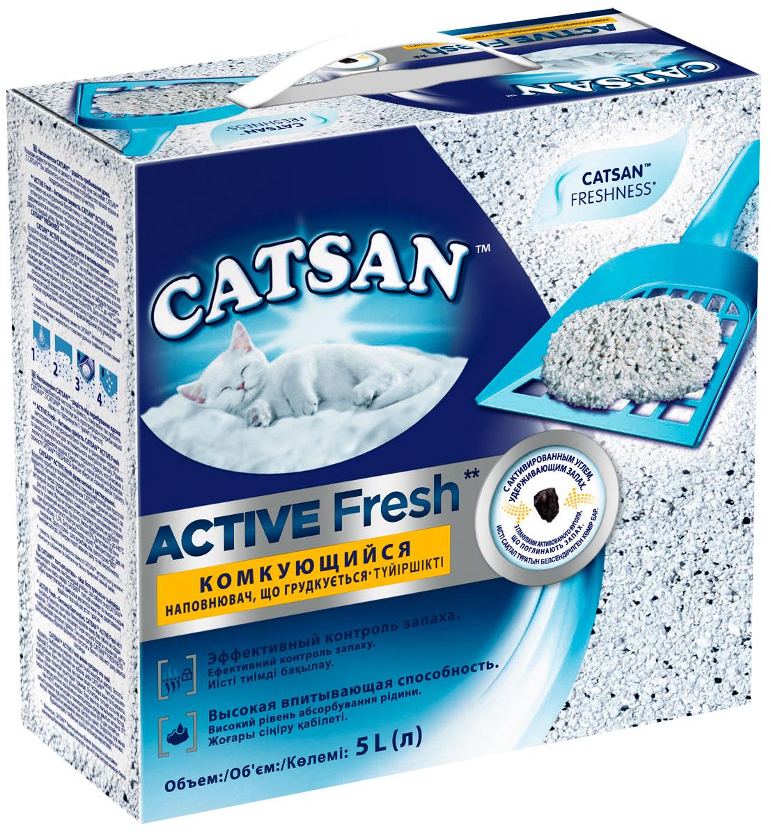 Catsan Active Fresh наполнитель комкующийся для туалета кошек (5 л).