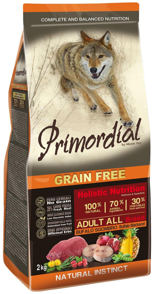 Primordial Adult All Breed беззерновой для взрослых собак всех пород с буйволом и макрелью (2 кг)