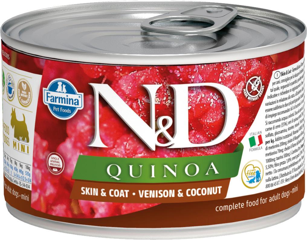 Farmina Dog N&d Quinoa Adult Mini Venison & Coconut беззерновые для взрослых собак маленьких пород с олениной, кокосом и киноа 140 гр (140 гр х 6 шт)