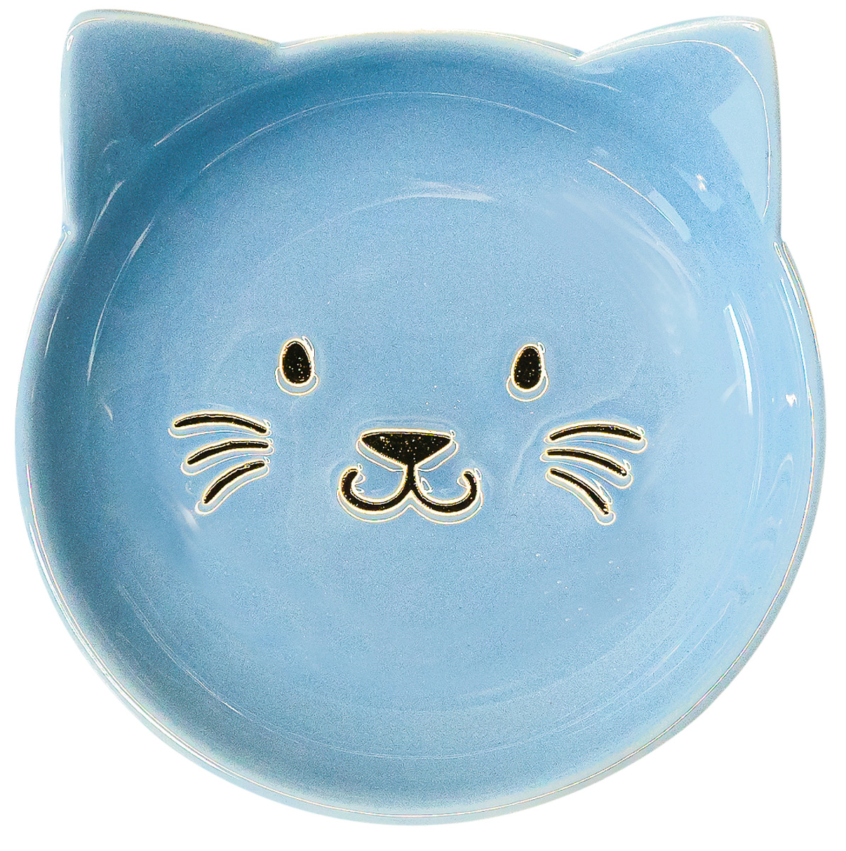 Керамическая миска блюдце КерамикАрт Мордочка кошки голубая 80 мл (80 мл)