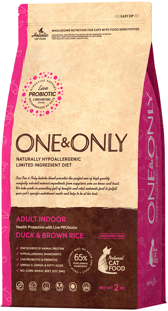 One&only Cat Adult Indoor Duck & Rice для взрослых кошек живущих дома с уткой и рисом (0,4 кг)