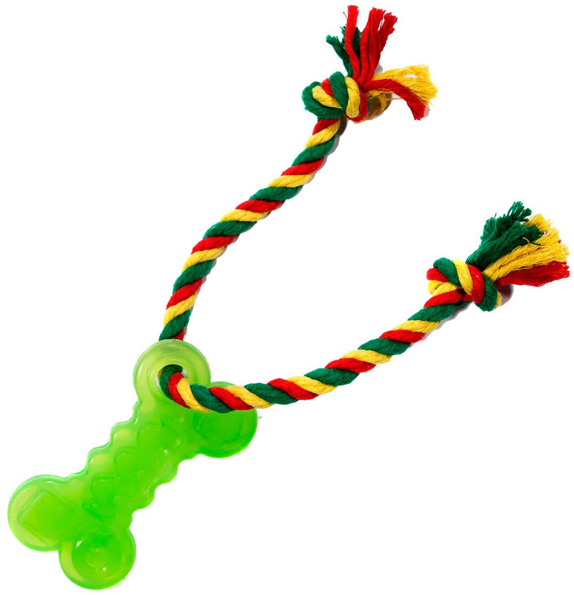 Игрушка для собак Doglike Кость с канатом зеленая малая (1 шт)