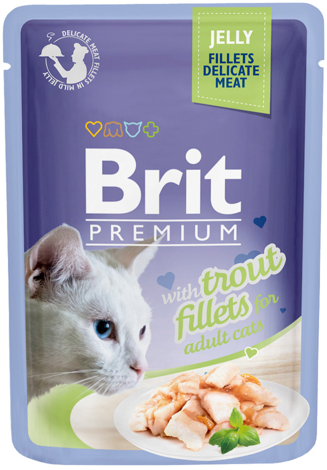 Brit Premium Cat Jelly Trout Fillets для взрослых кошек кусочки филе форели в желе 85 гр (85 гр х 24 шт) фото