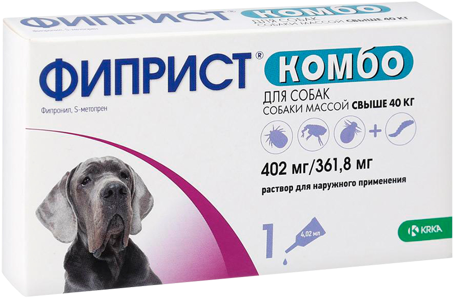 Фиприст комбо – капли для собак весом от 40 до 60 кг против клещей, блох, вшей и власоедов (1 пипетка по 4,02 мл) Krka (1 пипетка) фото