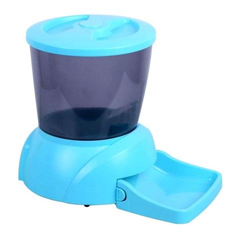 Автоматическая кормушка для кошек и собак мелких пород с ЖК-дисплеем Feed-Ex голубая (1 шт).