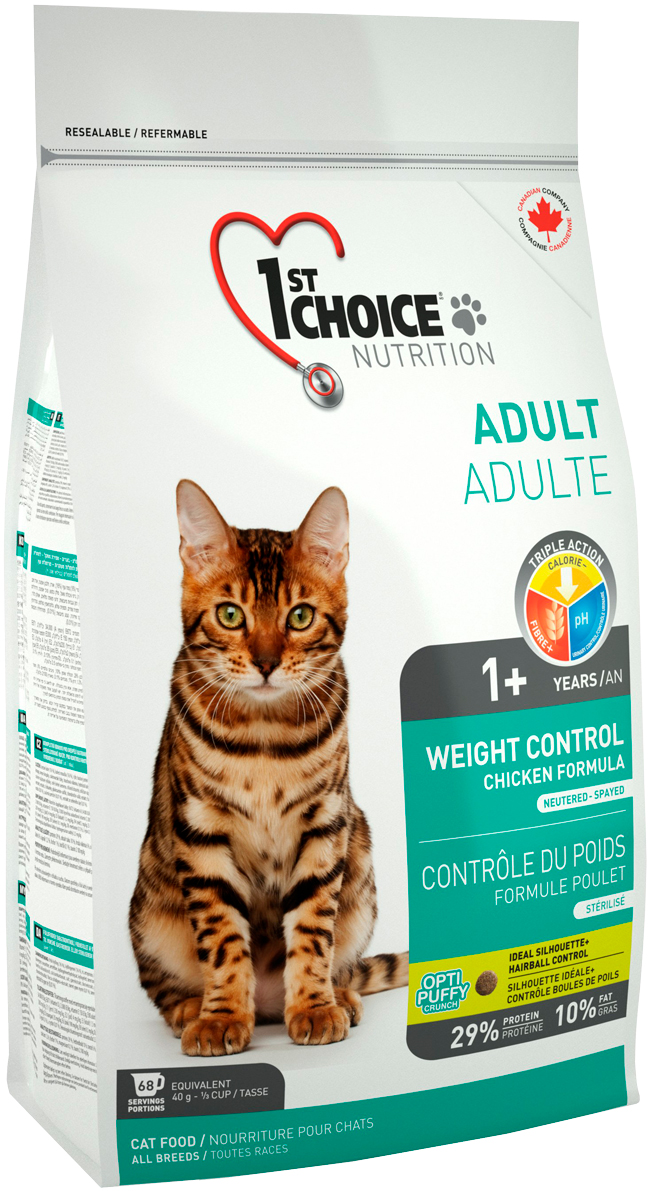 1st Choice Cat Adult Weight Control диетический для взрослых кошек с курицей (2,72 кг)