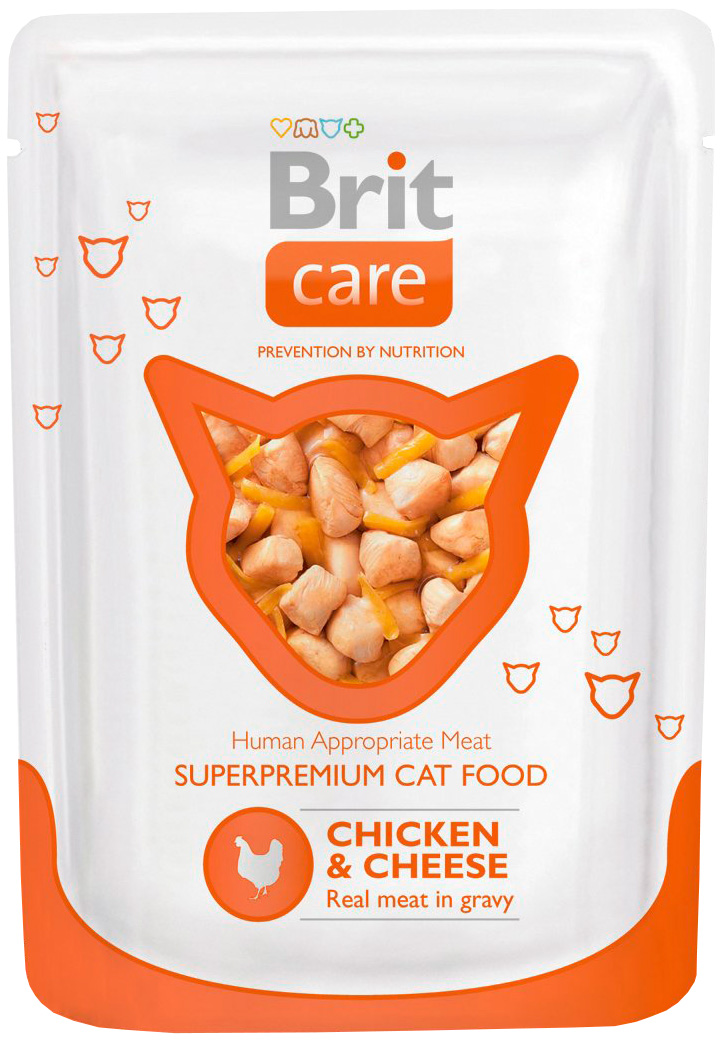 Brit Care Cat Chicken & Cheese для взрослых кошек с курицей и сыром 80 гр (80 гр) brit care cat chicken breast для взрослых кошек с куриной грудкой 80 гр 80 гр