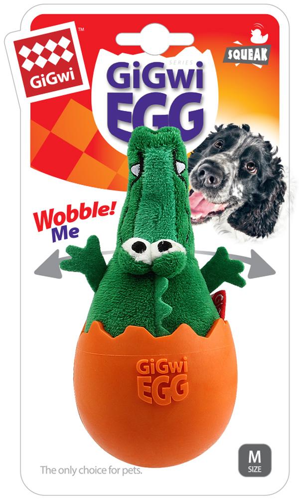 Игрушка для собак GiGwi Egg Крокодил неваляшка с пищалкой 14 см (1 шт)