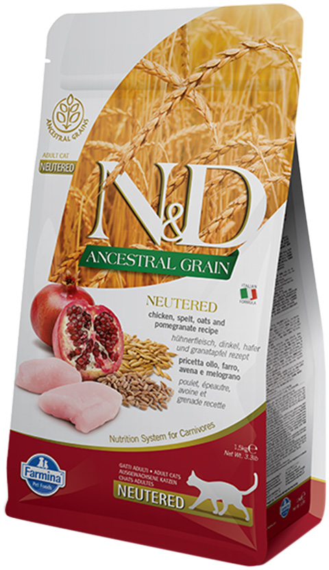 Farmina Cat N&d Ancestral Grain Neutered Chicken & Pomegranate низкозерновой для взрослых кастрированных котов и стерилизованных кошек с курицей и гранатом (1,5 + 1,5 кг)