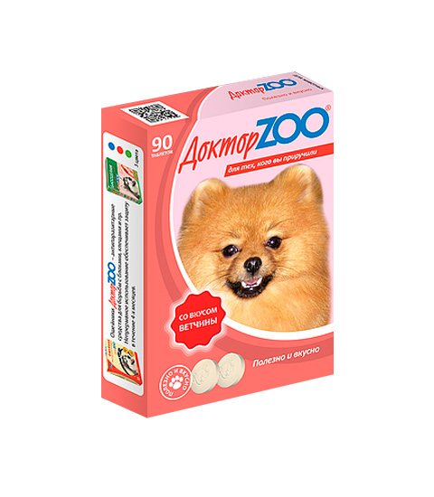 доктор Zoo мультивитаминное лакомство для собак со вкусом ветчины и биотином (90 таблеток)