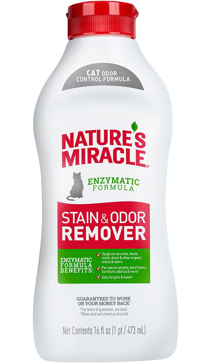 8 in 1 Nature's Miracle Stain & Odor Remover универсальный уничтожитель пятен и запахов для кошек 473 мл (1 шт) спрей nature s miracle уничтожитель пятен и запахов no more marking против повторных меток 709 мл