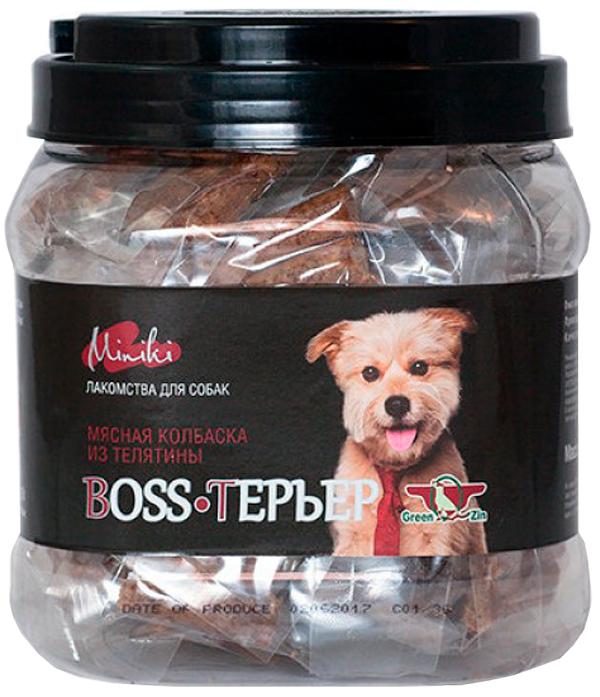 Лакомство Green Qzin Miniki Boss-Терьер для собак маленьких пород колбаски с мясом теленка 520 гр (1 шт)