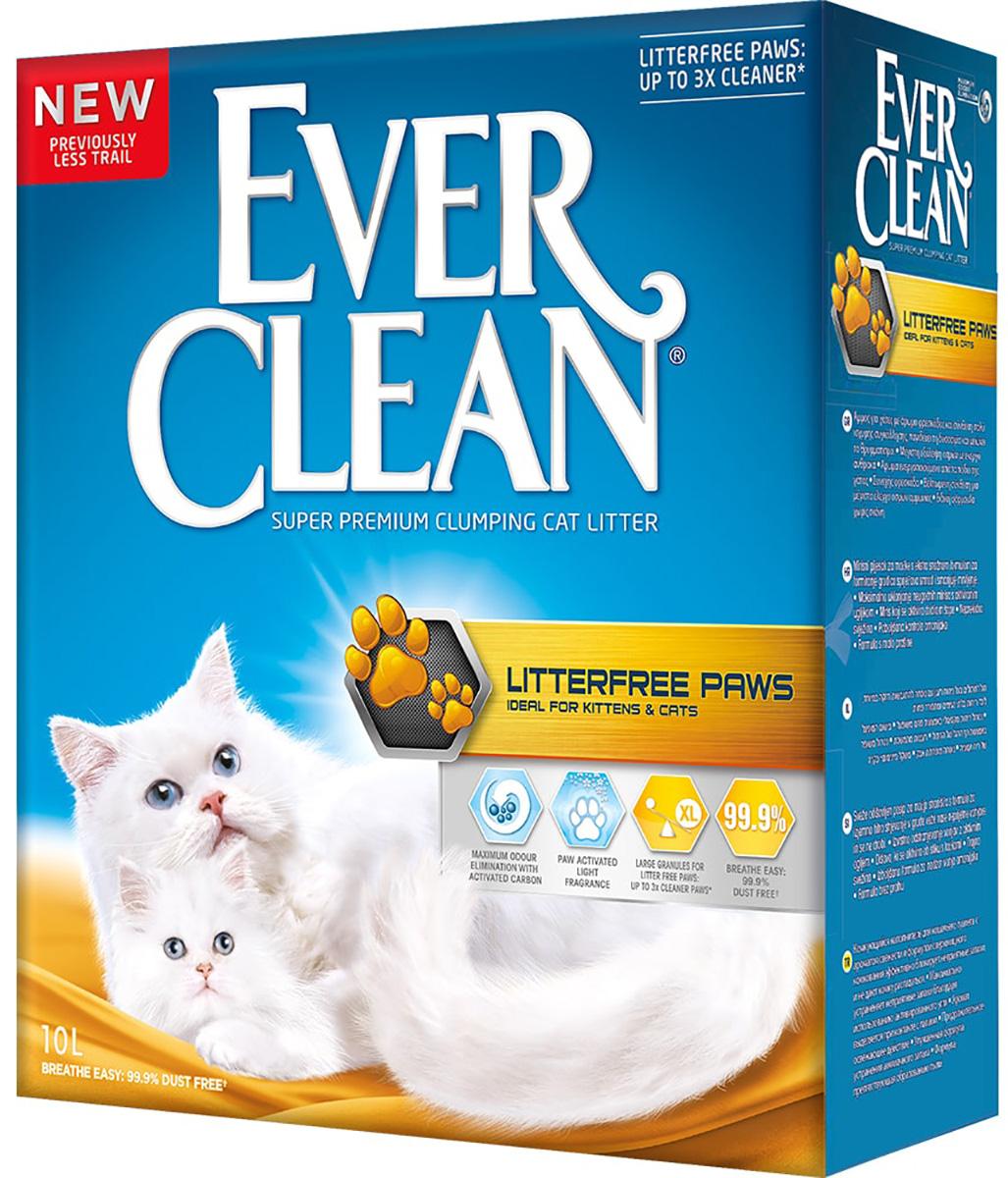 Ever Clean Litterfree Paws наполнитель комкующийся для туалета длинношерстных кошек для идеально чистых лап с ароматом свежести (желтая полоска) (10 + 10 л) фото