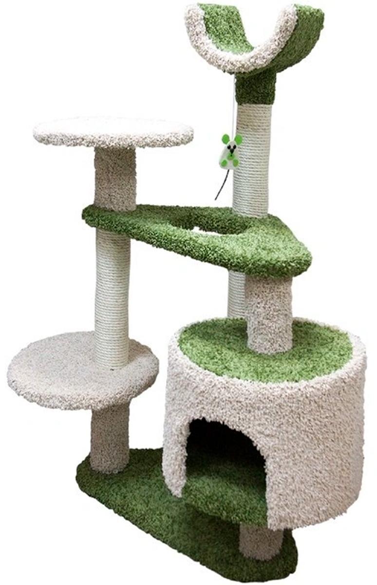 Комплекс для кошек Зооник многоуровневый с треугольными площадками ковролин зеленый 103 х 62 х 130 см (1 шт)