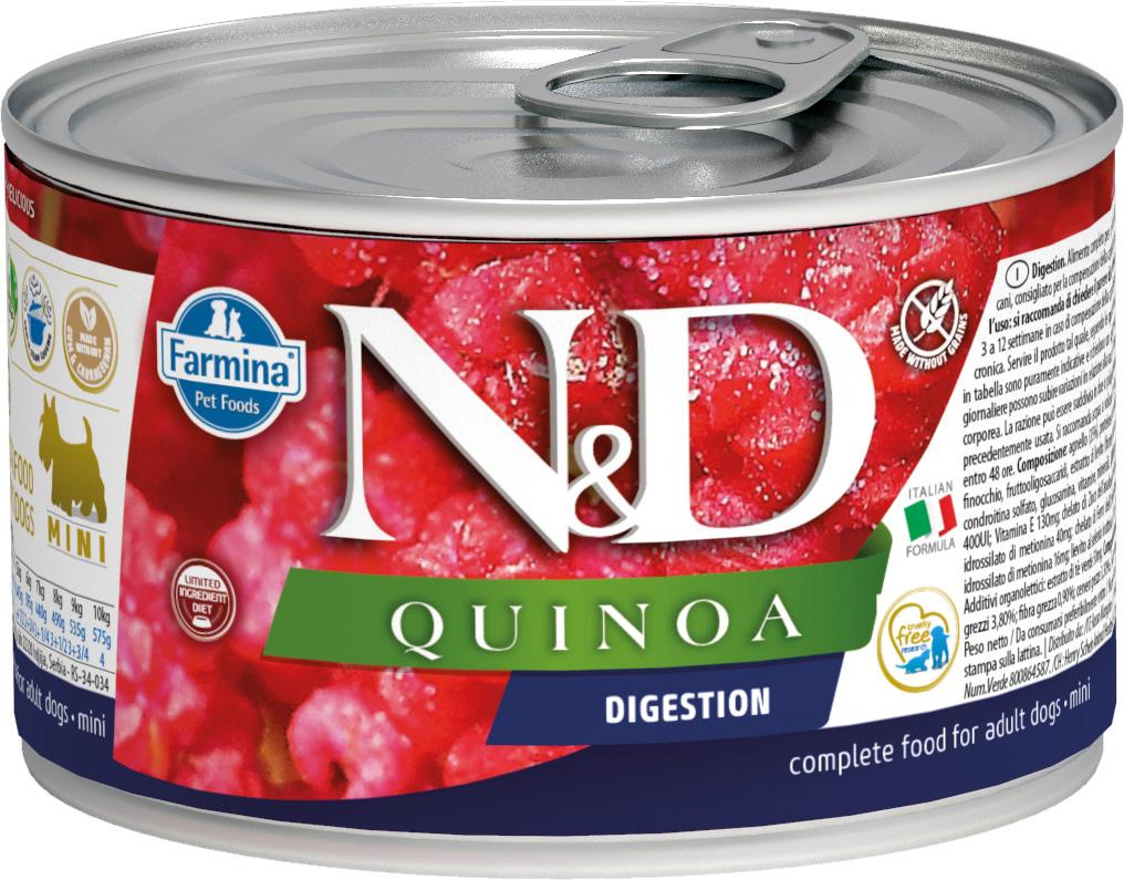 Farmina Dog N&d Quinoa Adult Mini Digestion беззерновые для взрослых собак маленьких пород с чувствительным пищеварением с ягненком и киноа 140 гр (140 гр х 6 шт)