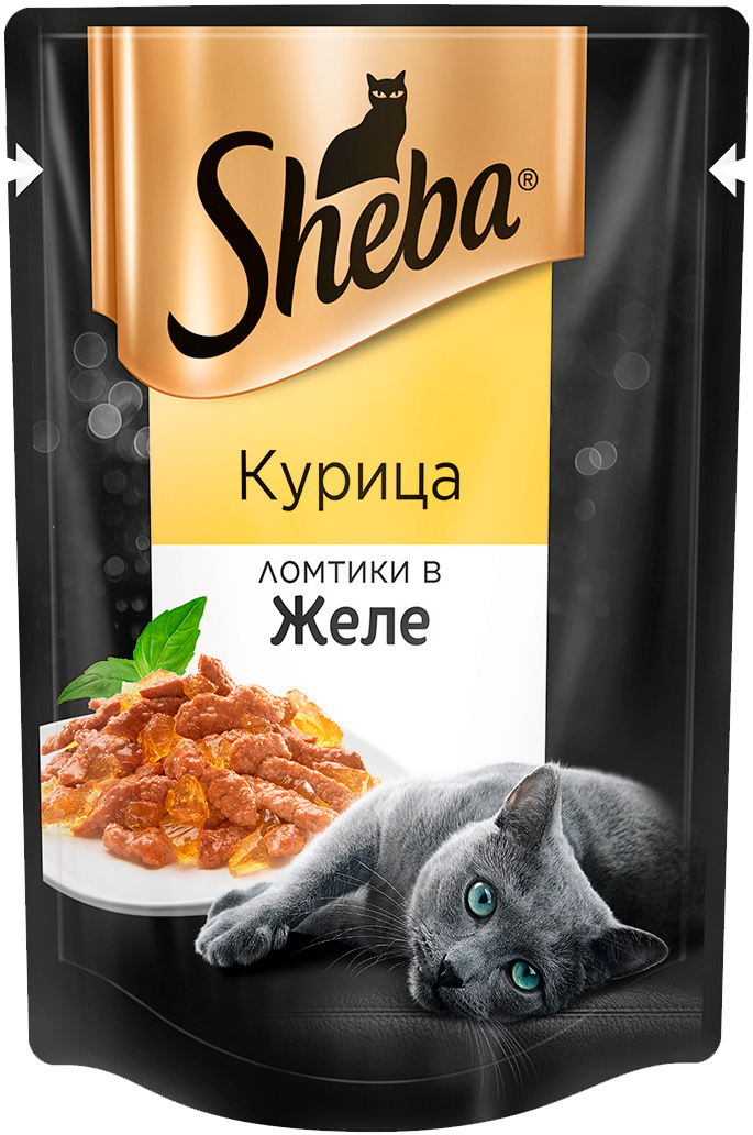 Sheba для взрослых кошек ломтики в желе с курицей 85 гр (85 гр х 24 шт) фото