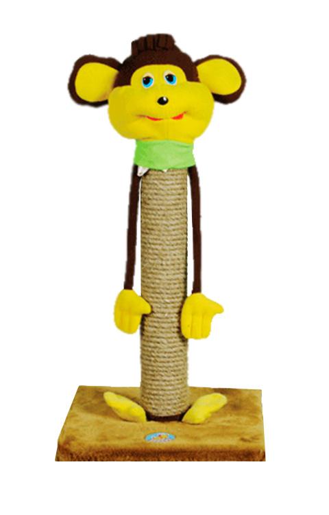 Когтеточка столбик Зооник напольная Обезьяна для кошек 34 х 34 х 65 см пенька (1 шт) фото