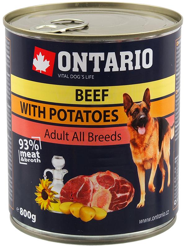 Ontario для взрослых собак с говядиной и картофелем (800 гр х 6 шт)