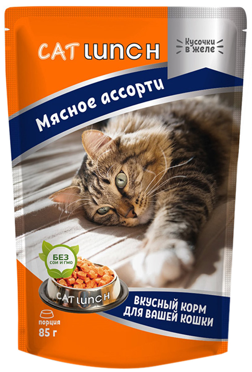 Cat Lunch для взрослых кошек с мясным ассорти в желе 85 гр (85 гр)