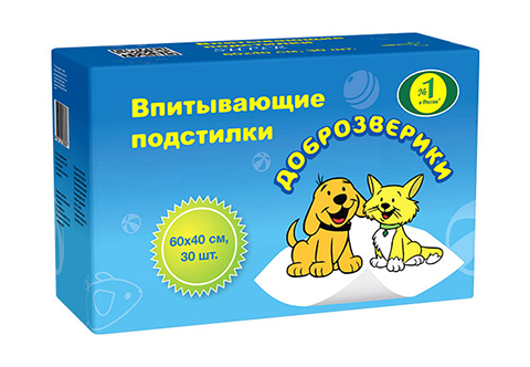 доброзверики пеленки впитывающие для животных, 40 х 60 см (30 шт)