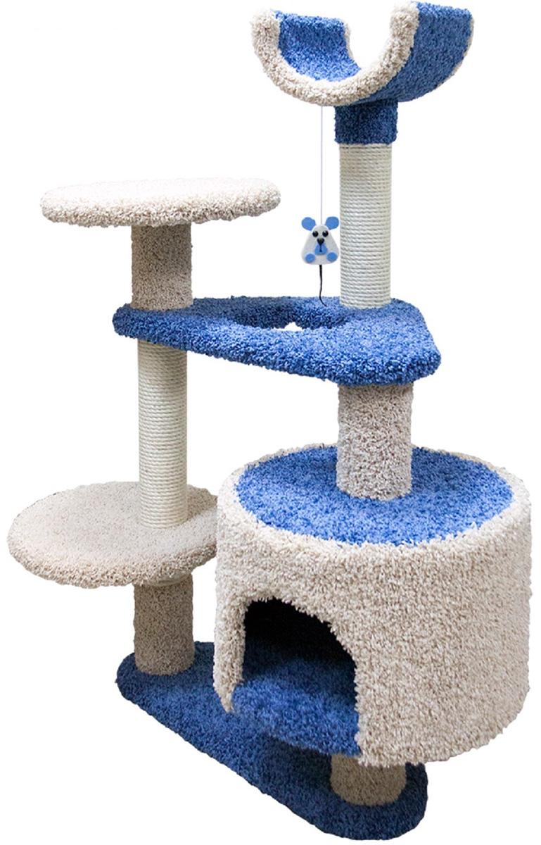 Комплекс для кошек Зооник многоуровневый с треугольными площадками ковролин синий 103 х 62 х 130 см (1 шт)