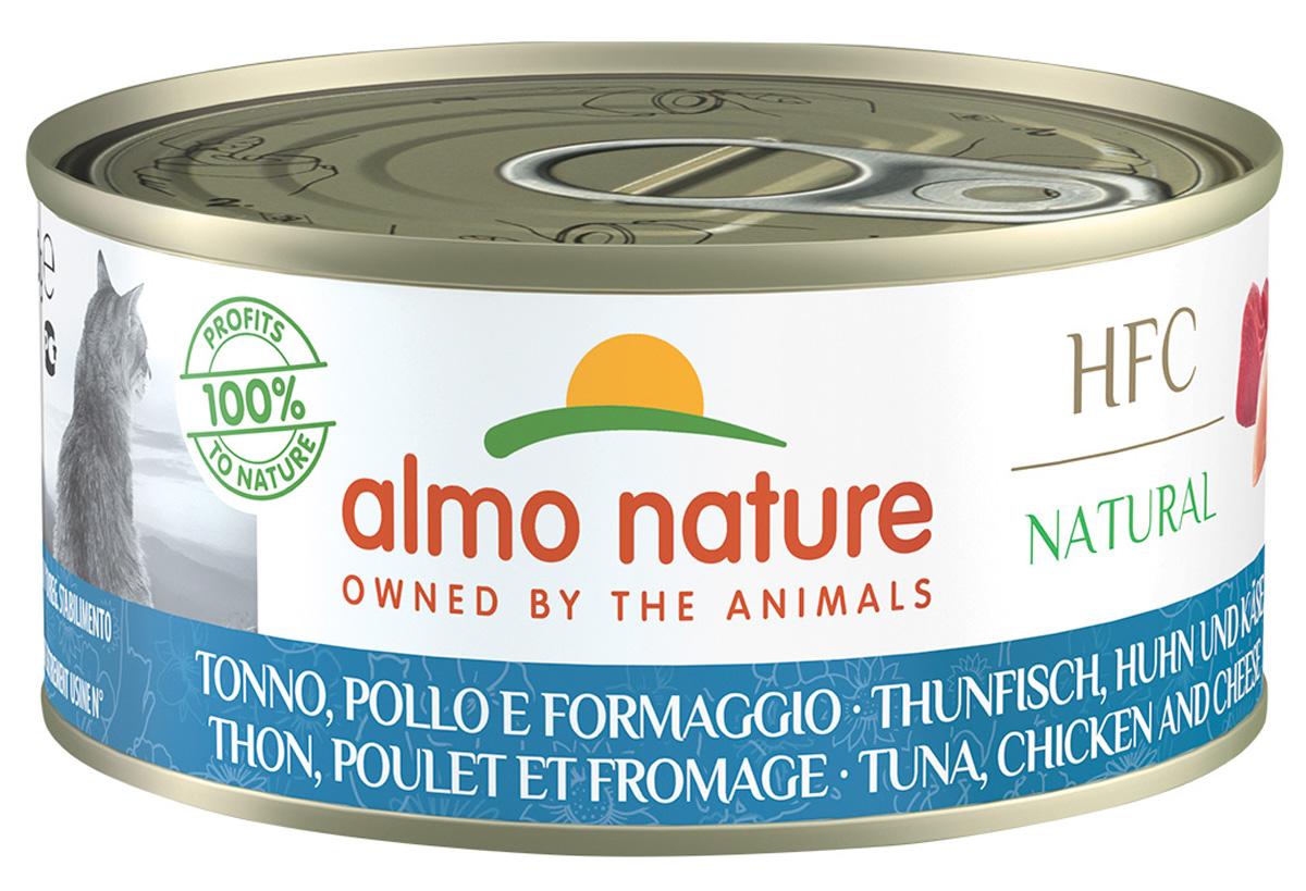 Almo Nature Cat Hfc Natural беззерновые для взрослых кошек с курицей, тунцом и сыром (150 гр х 24 шт)