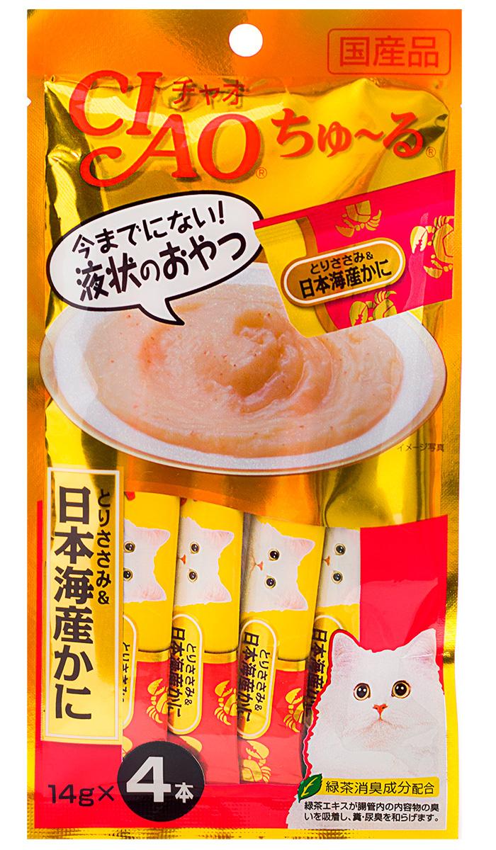 Лакомство Inaba Ciao для кошек крем-суп с японским крабом и парным филе курицы 56 гр (1 шт)